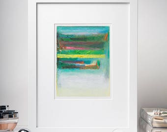 6x8'' Original Abstract Acrylic Painting, Abstract Study, Yellow, Red, Green, Blue, Small Painting on Paper, Color Field, Modern Home Decor