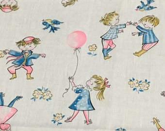 Vintage 1950s 1960s Children's Novelty Cotton Fabric Boy Girl