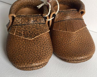 Size 2- Brown leather moccasin ( Ready to ship)