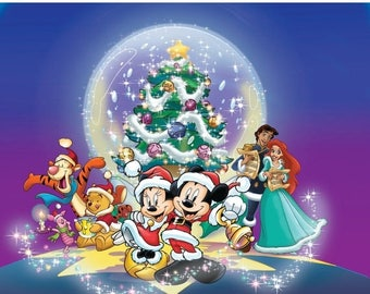 "mickey Cross Stitch mickey Pattern minnie cross stitch disney christmas pattern needlepoint - 30.71"" x 25.79"" - L1172"