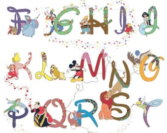 "Alphabet Disney characters Cross Stitch Alphabet Disney Pattern abc pattern ponto de cruz needlepoint -23.64"" x 32.36""- L531"