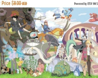 "studio ghibli Counted Cross Stitch studio ghibli Pattern Kräiz Stitch point de croix Miyazaki - 25.57"" x 14.43"" - L951"