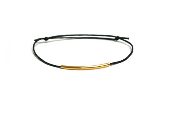Adjustable bracelet tube brass graphic smooth black leather