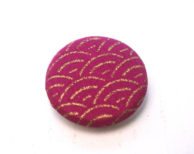 Japanese fabric brooch precious Golden sengaiha raspberry pink