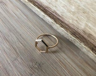 Hexagon Ring, Gold Finish Ring, Modern Ring, Handmade Ring, Stacking Ring, Stackable Rings, Gift for her, Gift for Sister, Gift for Mom