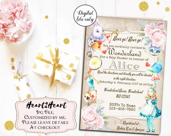 Digital Floral Personalised Alice in Wonderland Baby Shower Invitations - Printable,Download, Tea Party