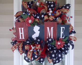 Home Wreath/Barn Wood Wreath/Everyday Wreath, Summer Wreath,New Jersey Home Wreath, New Jersey Wreath, Rustic Wreath, Patriotic Wreath