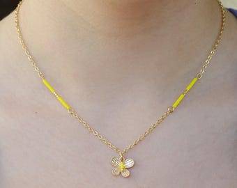 Yellow and gold, the gold plated Butterfly Necklace minimalist necklace