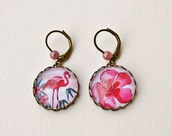 Earrings pink Flamingo and tropical flower