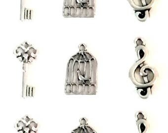 note set 9 key, bird cage and bird charms, silver colored music