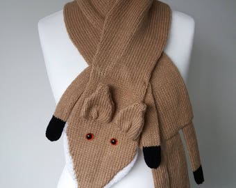 GetWoolly Fox stole / neck scarf / warmer, pale brown and white, baby soft wool, hand knitted