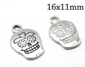 2pcs Sterling Silver Skull Bead, Silver Skull Charm, Small Skull Charm, Silver Skull Bead, Silver Skull Pendant