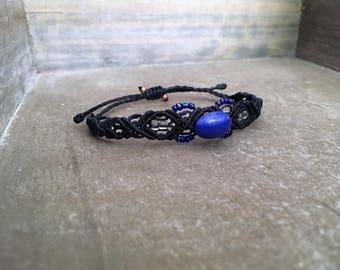Navy Blue Bracelet with Vintage Glass Button
