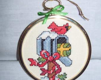 Mailbox Cardinal Package Cross Stitch Framed Ornament Wall Hanging