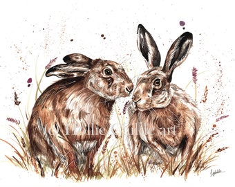 Spring hares Limited edition print
