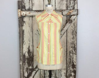 Vintage 50s 60s Yellow Pink Mint Green and White Striped Button Down Tunic Large Size 16 1/2