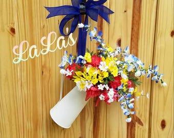 Watering Can Wreath Door Hanger- Front Door Floral- Summer Wreath for Front Door- Everyday Door Decor- Wreath Alternative- Free Shipping