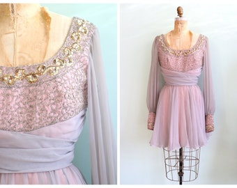 Vintage 1960's Periwinkle Beaded Chiffon Party Dress | Size Small