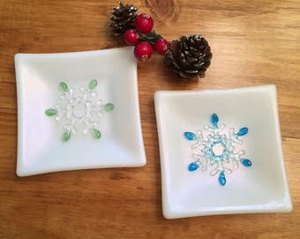 White Iridescent Art Glass Plate with Blue or Green Snowflake, 5 Inch Square, Winter Fused Glass