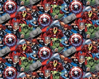 Marvel Avengers Fabric Packed Avengers Superhero Superheroes Thor Captain America Hulk IRON MAN Black Widow Cotton Fabric