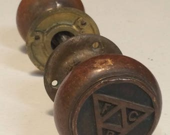 A Pair of Knights of Pythias Doorknobs Dating to 1st Decade of the 20th Century Fraternal Order Freemasonry Eastern Star Knights of Columbus