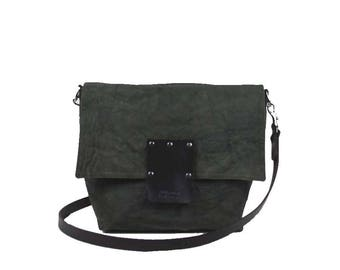 Large Waxed Canvas Crossbody - Olive - Dyed Brown Leather Strap