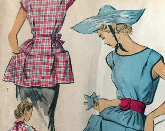 Vintage 1950's Cobbler's Apron Pattern---Advance 5998---Size Medium (14-16)  Bust 32-34
