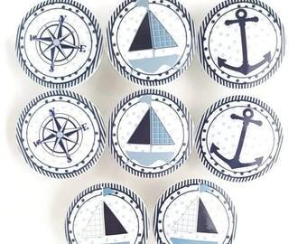 SUMMER SALE William Nautical Set of 8 Knobs