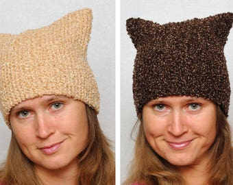 Cat Hat Winter Hat Autumn Hat Fall Hat Pussyhat Ear Hat Knit Hats Animal Hat Funny Hat Brown Hat Girlfriend Gift for Women Gift for Her