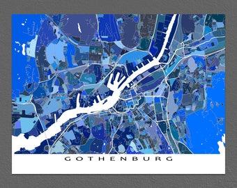 Gothenburg Map Print, Gothenburg Sweden, City Art Maps, Blue