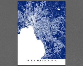 Melbourne Map Print, Melbourne Australia, Regional City Street Art Maps