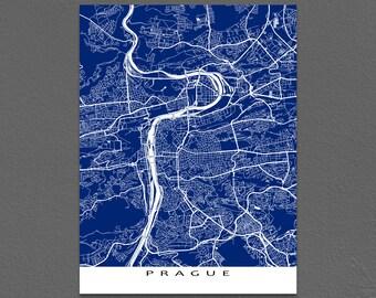 Prague Map Print, Prague Art, Praha Czech Republic Map Artwork