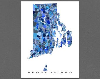 Rhode Island Map Art, Rhode Island Print, RI State Maps