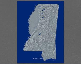 Mississippi Map, Mississippi Wall Art, MS State Art Print, Landscape, Navy Blue
