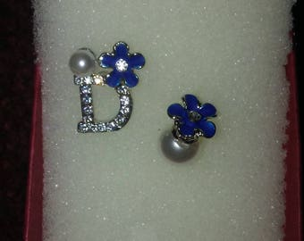 """Silver and Purple """"Dior"""" Inspired Stud Earrings"""
