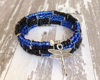 Seed Bead Bracelet Blue Black Memory Wire Bracelet Beaded Bangle Cuff Bracelet Multi Wrap Boho Bracelet Layer Stack Bracelet Trendy Gift Her