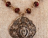 Immaculate and Sacred Heart Bronze Necklace & Earring Set, Sacred Heart Erarrings, Ruby Red Golden Pressed Jade Rondelle, Wire Wrapped