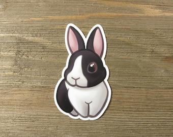 Black Dutch rabbit sticker; cute printed vinyl bunny sticker, waterproof, weatherproof