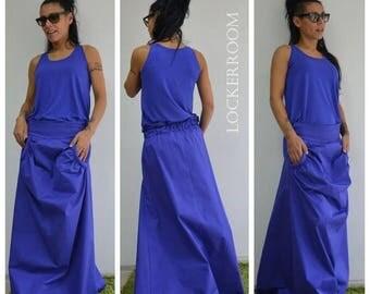 ON SALE Woman Oversize blue skirt /Spring Long skirt / Woman asymmetric skirt / Woman cotton  skirt / maxi fashion skirt /  Extravagant Long