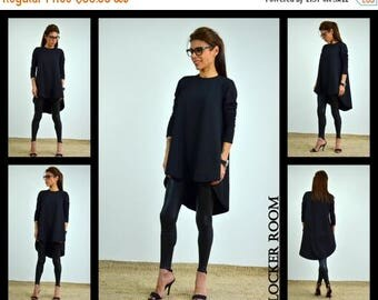 ON SALE Oversize soft tunic / Black loose tunic / Long sleeves blouse / Black woman top/maternity top