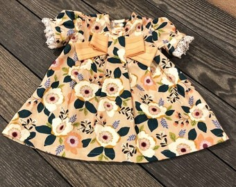 Clara Dress: Girl's Spring Floral Party Dress for Birthday, Easter - Made with Modern and Vintage Fabric