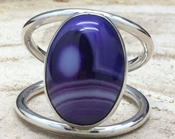 Handcrafted Sterling Silver Ring with Purple Banded Agate Stone.
