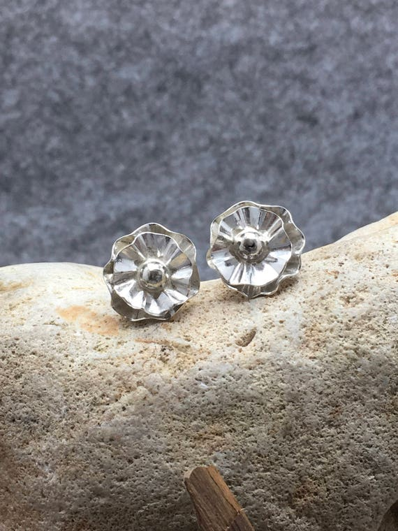 Sterling Silver Flower Stud Earrings.