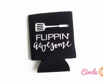 Flippin' Awesome Can KOOZIE® - Personalized Beer/Soda Can Hugger | funny beer drinker gift | white elephant gift | husband or dad who grills