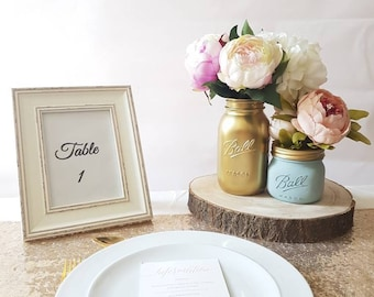 Painted Mason Ball Jars set of 2 - Perfect for Wedding Centrepieces