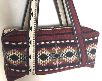 Duffel bag/ Travel bag/ Boho Chic Bag/ Weekender bag, Handwoven Wool Ethnic Bag