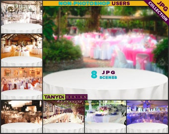 Empty Table Top WT-C2 | Wedding White Round Table Styled Scene | 8 JPG Wedding Blur Background | Table Scene Creator