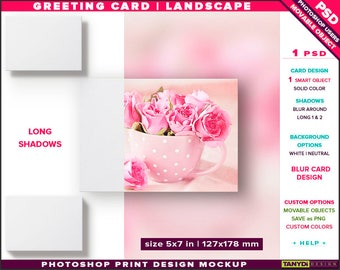 Greeting Card 5x7 | Photoshop Print Mockup | Landscape Card on White & Blurred Background | Long shadows | Smart object Custom colors