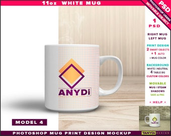 11oz White Coffee Mug | Photoshop Print Mockup M4-0 | Movable Right Left Mug & Steam | Studio wooden table | Smart object Custom colors
