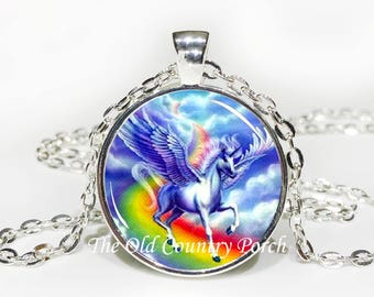 Unicorn Rainbow-Glass Pendant Necklace/Graduation gift/mothers day/bridal gift/Easter gift/Gift for her/girlfriend gift/friend gift/birthday